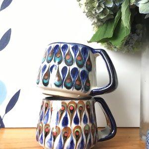 Set of 2 handmade Polish Pottery inspired mugs